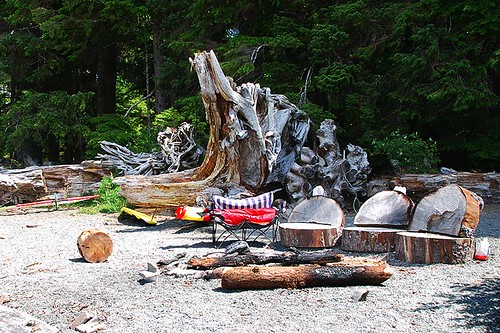 Beach Campsite at Nitinat Lake, Vancouver Island, British Columbia, Canada