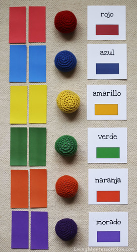 Color Tablets, Yarn Balls, and Spanish Colors Layout