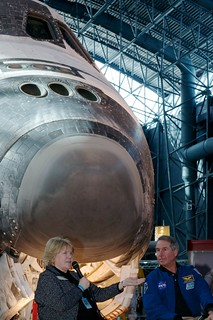 Astronaut Dr. Stephen Robinson Talks about His Experience in Front of the Space Shuttle Discovery