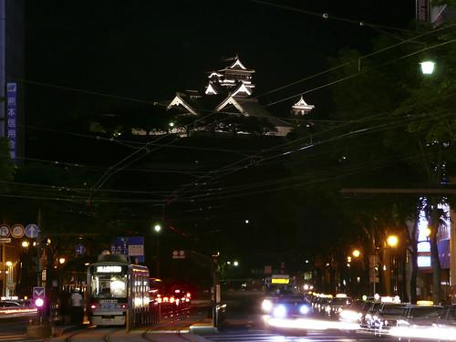 red japan downtown 日本 nightview 夜景 kumamoto kyushu 街 九州 熊本 kumamotocastle 熊本城 熊本市 電車通り denshadoori