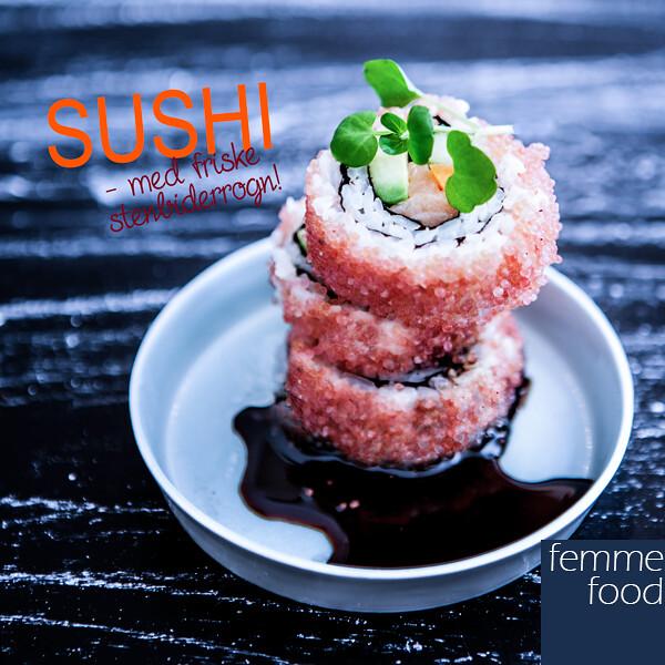 Sushi med friske stenbiderrogn