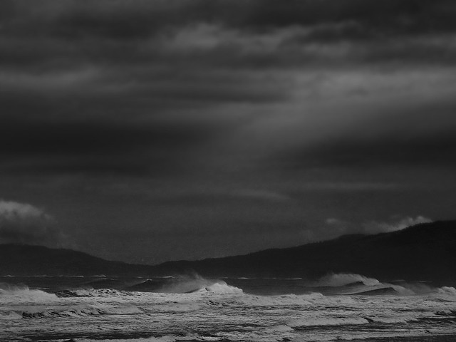 windblown waves and storm clouds  at Ocean Beach, San Francisco (2014)