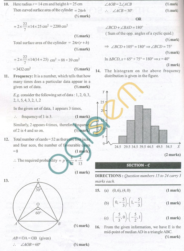 CBSE Solved Sample Papers for Class 9 Maths SA2 - Set A