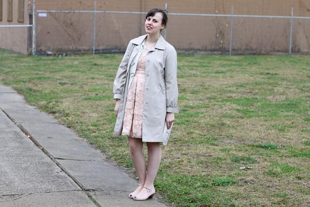 "Pretty in Pink Outfit: Anthropologie pink and gold lace and sequin ""Sugarberry Dress"", thrifted London Fog rain coat, Anthropologie pink suede kitten heels, thrifted floral cardigan, Kate Spade Emma book cosmetic pencil case"