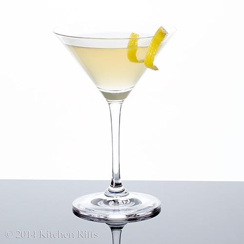 Twentieth Century Cocktail with lemon twist garnish