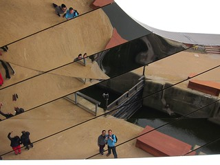 Us reflected in the underside of a footbridge, Queen Elizabeth Olympic Park