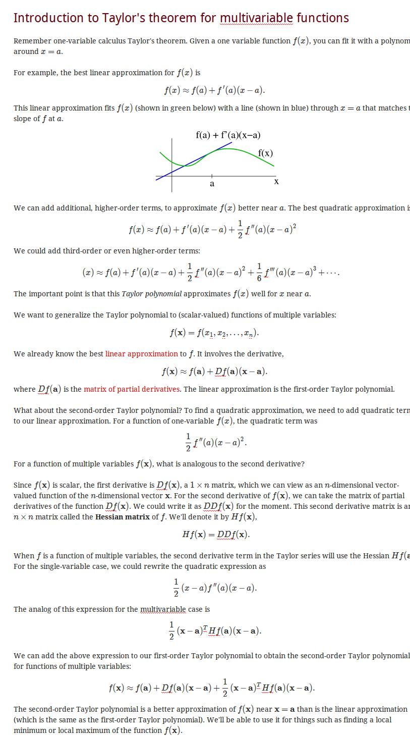 Introduction to Taylor's theorem for multivariable functions - Math Insight taylor series