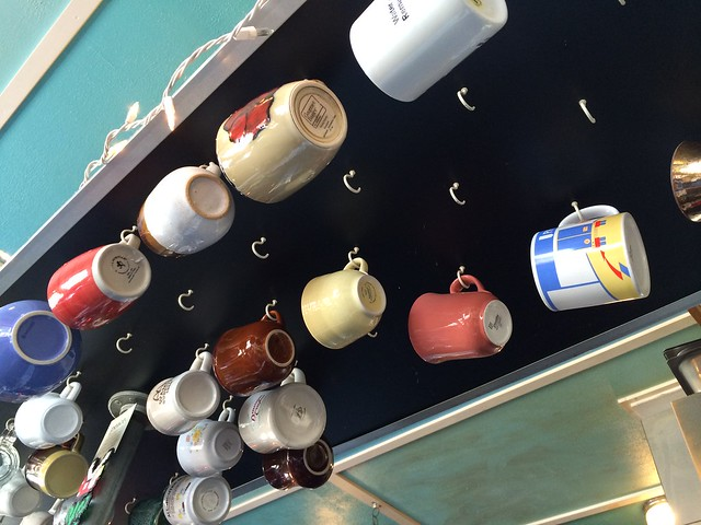 Coffee mug rack - Hi-Lo's 15th Street Cafe