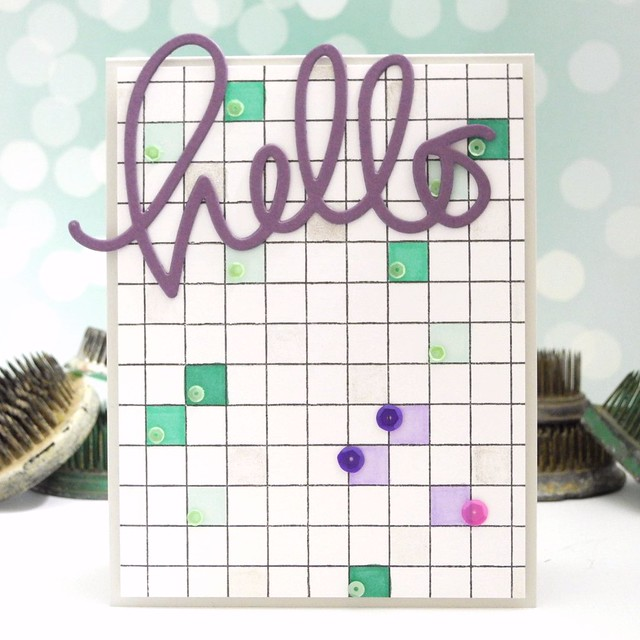 Sparkly Hello by Jennifer Ingle #JustJingle #SimonSaysStamp #PrettyPinkPosh #SpectrumNoir