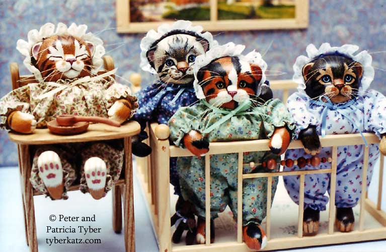Cat art dolls by Peter and Patricia Tyber of Tyber Katz, Newbies, Kittens