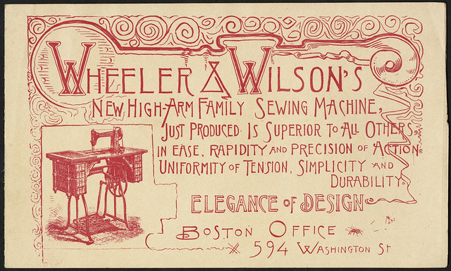Wheeler & Wilson's new high-arm family sewing machine, just produced. Is superior to all others in ease, rapidity and precision of action. Uniformity of tension, simplicity and durability. Elegance of design. (front)