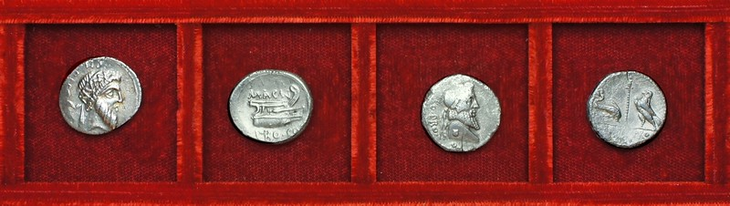 RRC 446 MAGN PRO COS Pompey, RRC 447 MAGN PRO COS VARRO PRO Q Pompey, Ahala collection, coins of the Roman Republic