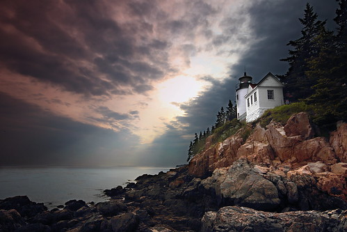 ocean light sunset red sea sky usa lighthouse seascape canon landscape rocks maine explore barharbor eastcoast t3i acadianationalpark 600d explored gsamie guillaumesamie