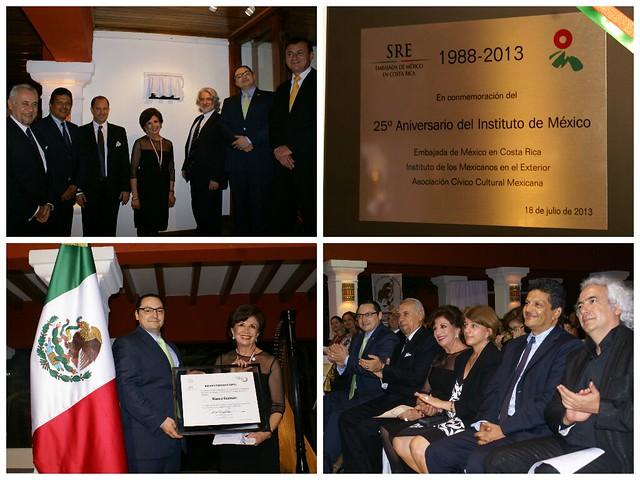 Entrega del Premio Ohtli a Blanca Guzmán en el marco del 25° Aniversario del Instituto de México en San José, Costa Rica.