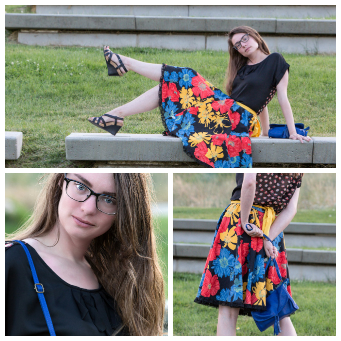 floral skirt, yellow sash, Shakespeare, black top, Tullaire, blue purse,