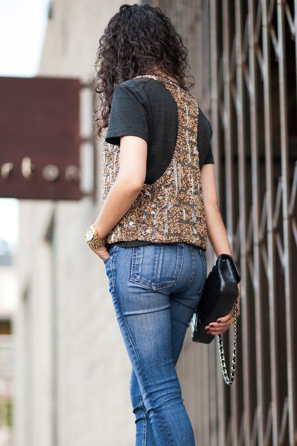 zara beaded vest, diamante waistcoat, rag and bone jeans