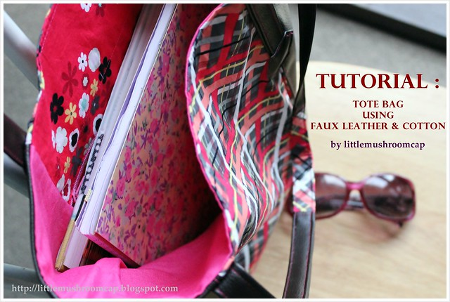 Tutorial tote bag using faux leather and quiting cotton_ how to sew faux leather