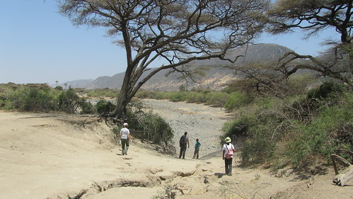 The hike into the dry river bed.