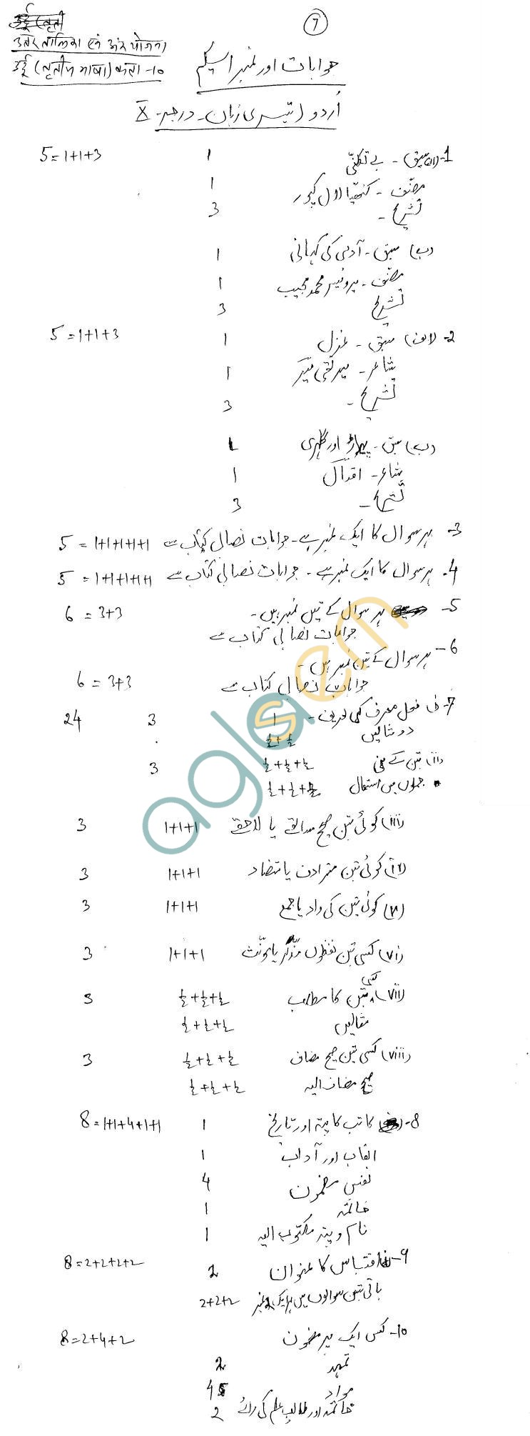 Rajasthan Board Class 10 Urdu T. L. Model Question Paper