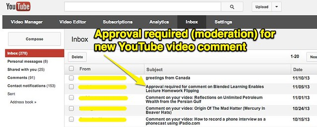 Inbox - YouTube (Comment Moderation)
