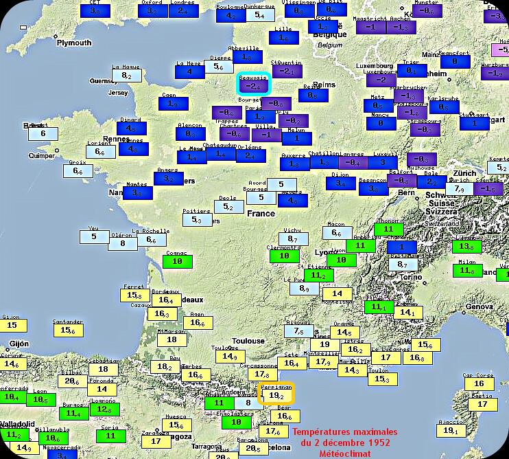 températures maximales lors du remarquable contraste thermique Nord-Sud du 2 décembre 1952 météopassion