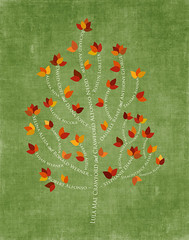 Family tree with names art green white present day autumn leaves