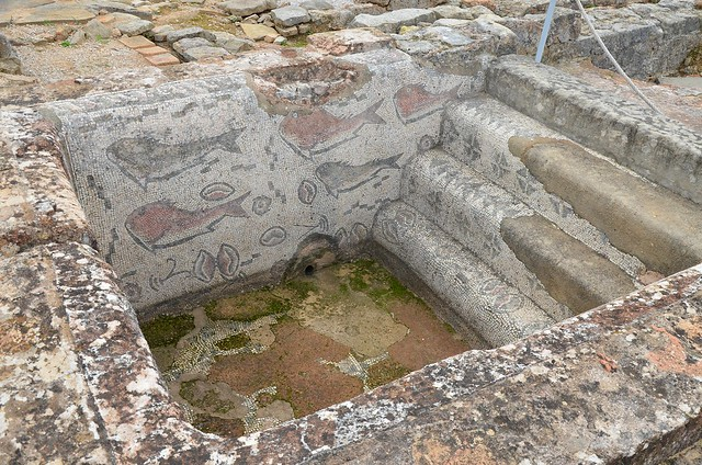 Baths, the frigidarium pool with fish mosaics, dating from the 3rd century AD, the Roman Ruins of Milreu, a luxurious rural villa, transformed into a prosperous farm in the 3rd century, Portugal