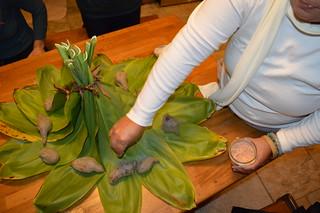 Ho'okupu (Hawaiian ceremonial offering) with ulala (sweet potato) and alaea (red Hawaiian salt)