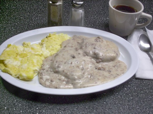 A hot and delicious order of Biscuits and gravy with eggs.  Harlo Grill.  Melrose Park Illinois.  December 2007. by Eddie from Chicago