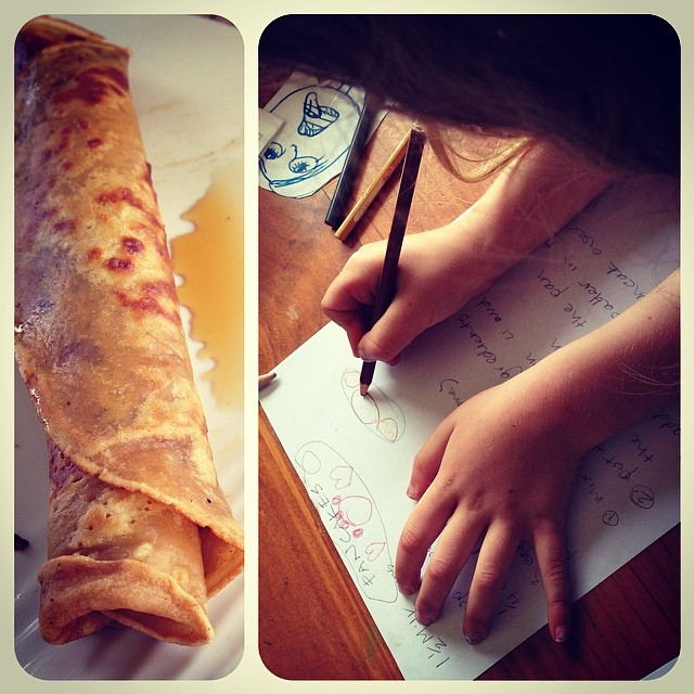Little Owlet got bored with #whole30 so she made up a recipe and cooked the owlets pancakes. #idleparentingwin #unschooling #littleowlet
