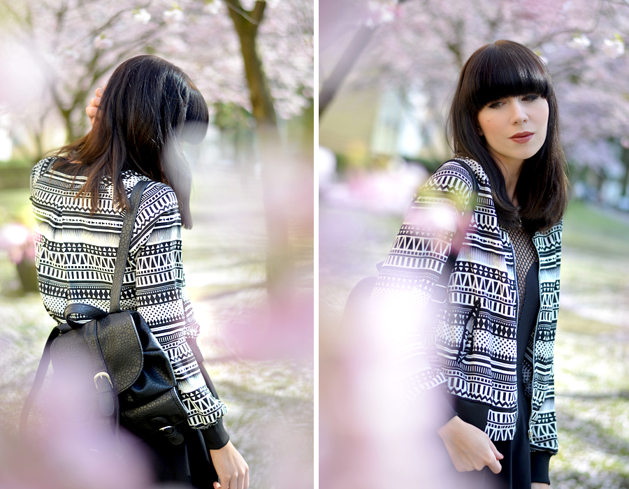 Tally Weijl outfit aztec blouson jacket black white skirt backpack 90s cool blogger CATS & DOGS berlin fashion blog 5