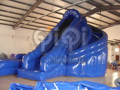Blue inflatable double land water slide-02