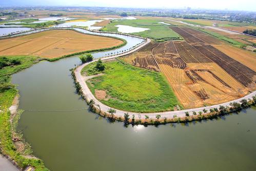 五十二甲溼地空拍圖。圖片引用自:荒野保護協會宜蘭分會