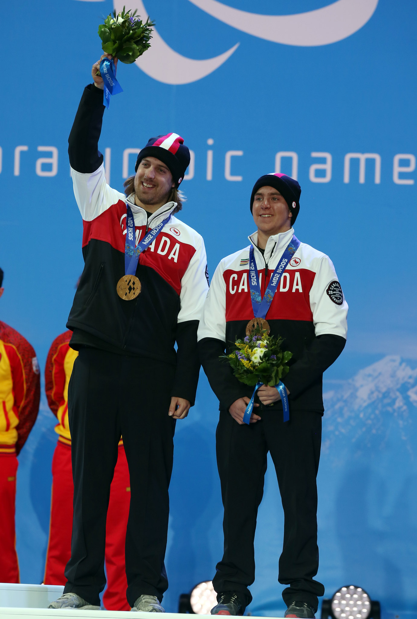 Mac and Robin celebrate Downhill bronze at the Paralympic Winter Games in Sochi, RUS