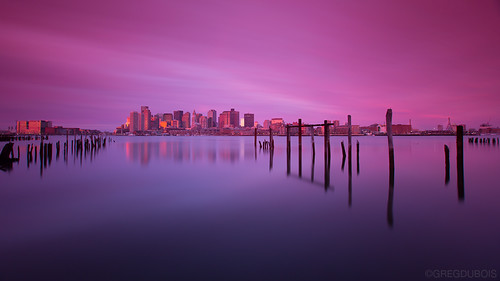 Extreme Exposure of Boston Skyline over Inner Harbor at Sunrise, Carlton's Wharf East Boston