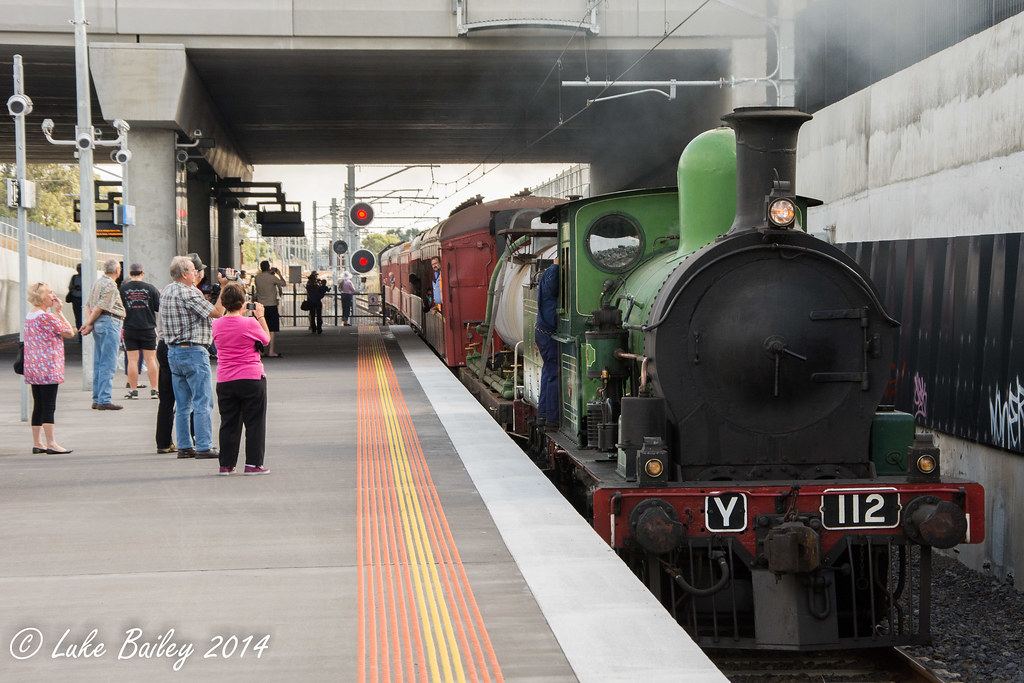 Y112 (steam) leads Y164 with Steamrail Victoria's #8877