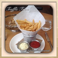 Cuisine & Dining: Truffle Fries (Artisan Bistro). Truffle Fries, roasted garlic aioli. Great Presentation. Bravo! www.princesdailyjournal.com #princesdailyjournal #foodie #foodphotography #yelp #lunch #cuisine #dining #fries #luxury #work #study #play #en
