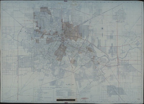 Houston, Texas - Town Plan with Superimposed Information