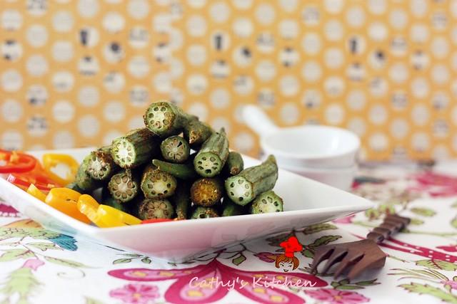 輕食的美味 - 咖哩烤秋葵 Baked Okra 1