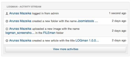LOGman module configured to display self activities