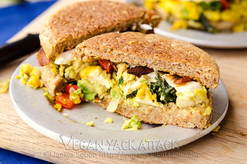 Delicious and filling Tofu Scramble Breakfast Sandwiches made up of a savory tofu scramble, vegan mozzarella and coconut bacon!