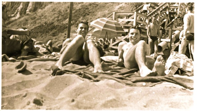 Vintage 1950s Photo: A Pair Of Smiling Men On The Beach