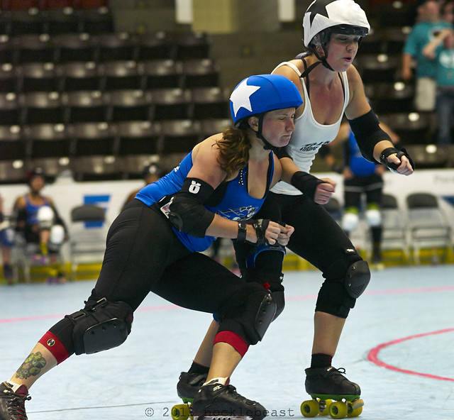 Shamrock N. Roller and Tri-City jammer on the last jam in regulation play.