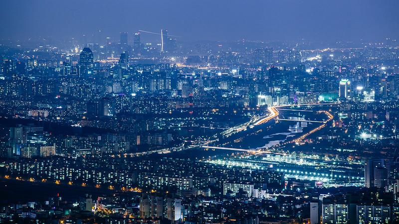 Seoul in blue.