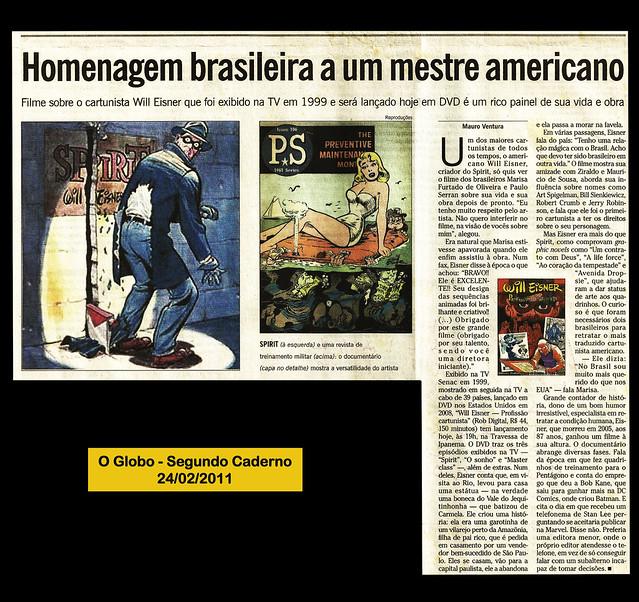 """""""Homenagem Brasileira a um Mestre Americano"""" - O Globo - 24/02/2011"""