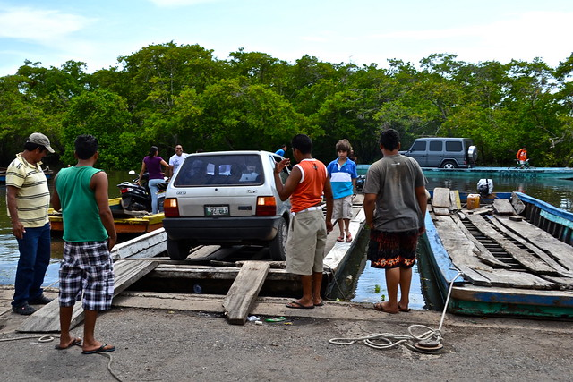 Directing Car off Ferry - Monterrico, Guatemala