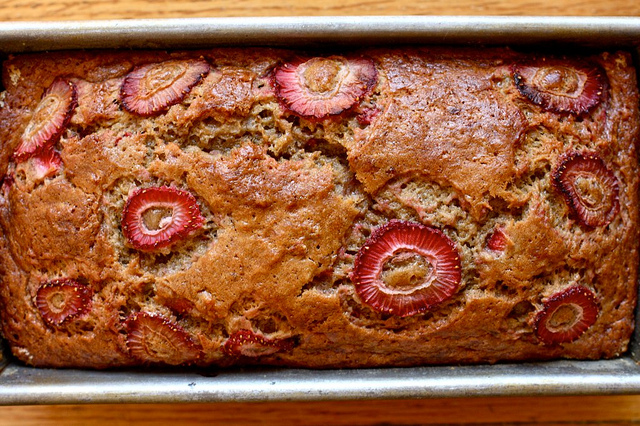 Brown Butter Strawberry Banana Bread