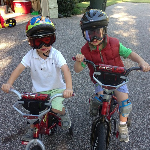 Supposedly they are rock climbers biking to the tallest mountain to climb up it. #its80degrees #lovemyboys