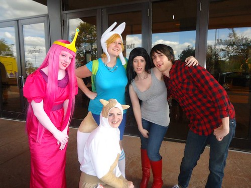 A group is dressed up as the characters from Adventuretime