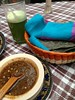 blue corn tortillas, salsa and pulque punch